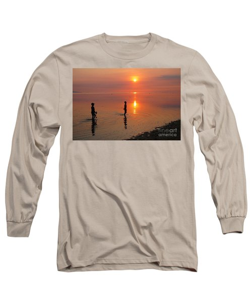 Young Fishermen At Sunset Long Sleeve T-Shirt