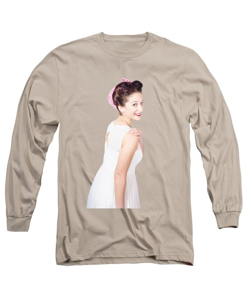 Long Sleeve T-Shirt featuring the photograph Young Happy Retro Woman Wearing Red Lipstick by Jorgo Photography - Wall Art Gallery