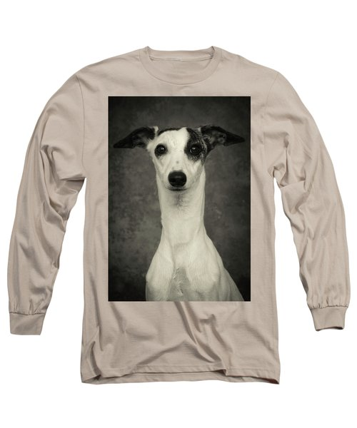 Long Sleeve T-Shirt featuring the photograph Young Whippet In Black And White by Greg and Chrystal Mimbs