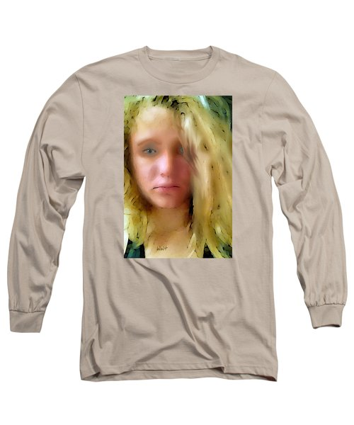 Long Sleeve T-Shirt featuring the digital art Young Woman by Walter Chamberlain