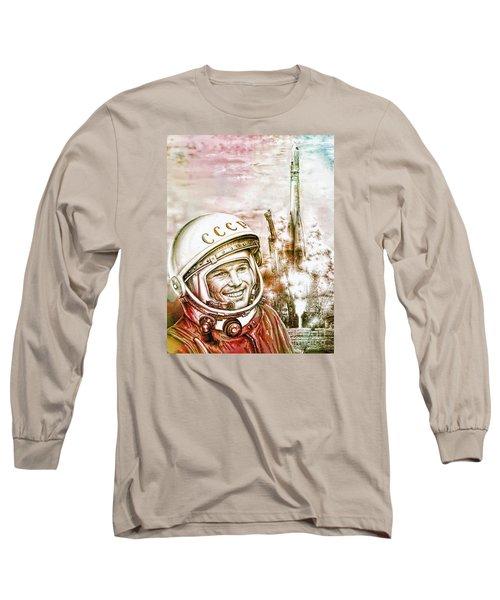 Yuri Gagarin - Cosmonaut 1961 Watercolor Long Sleeve T-Shirt