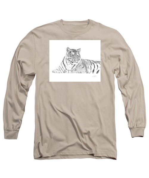 Long Sleeve T-Shirt featuring the drawing Zarina A Siberian Tiger by Patricia Hiltz
