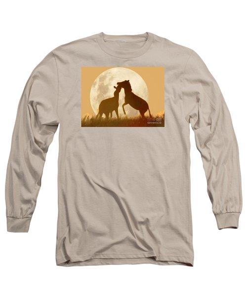 Zebra Full Moon Silhouettes  Long Sleeve T-Shirt