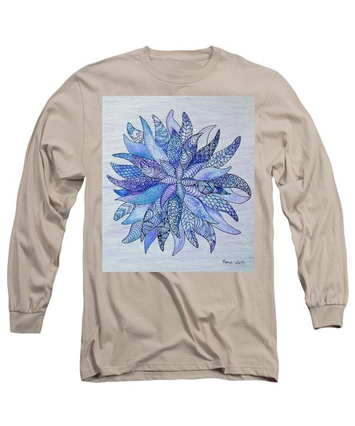 Long Sleeve T-Shirt featuring the drawing Zen Flower Mandala by Megan Walsh