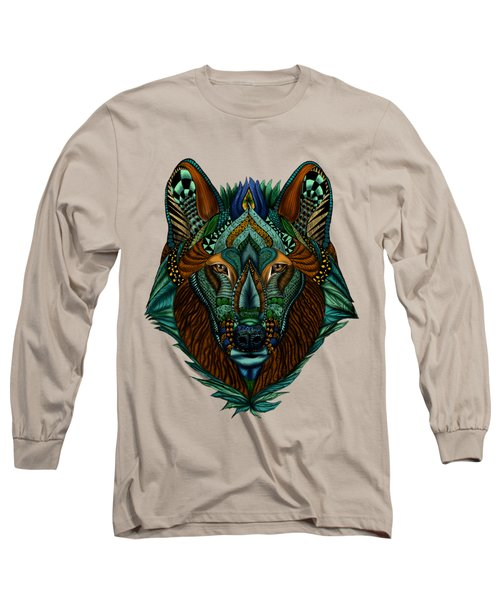 Zentangle Inspired Art- Wolf Colored Long Sleeve T-Shirt