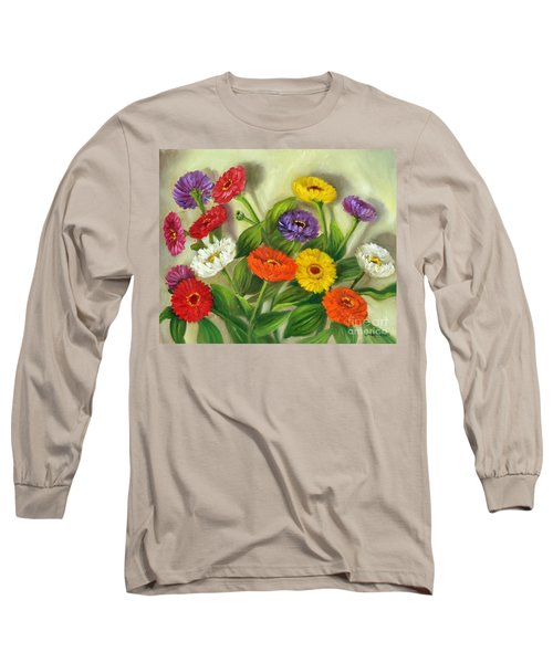 Long Sleeve T-Shirt featuring the painting Zinnias by Randol Burns