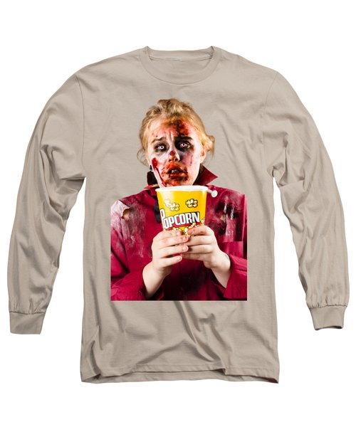 Zombie Woman Watching Scary Movie With Popcorn Long Sleeve T-Shirt by Jorgo Photography - Wall Art Gallery