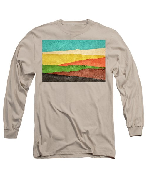 Abstract Landscape Created With Handmade Paper Long Sleeve T-Shirt