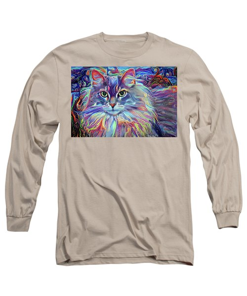 Colorful Long Haired Cat Art Long Sleeve T-Shirt