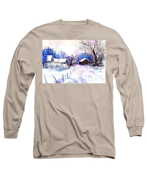 Mountain Village In Snow Long Sleeve T-Shirt