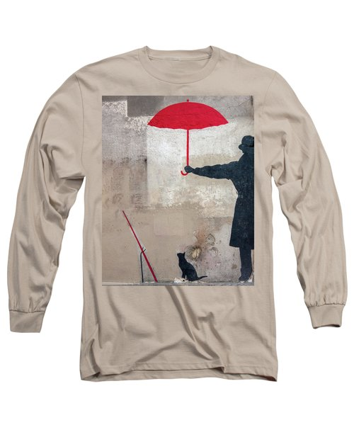 Paris Graffiti Man With Red Umbrella Long Sleeve T-Shirt
