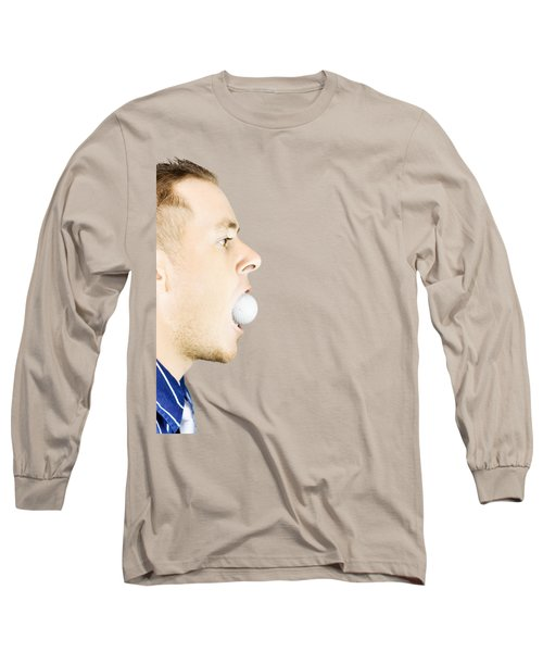 Man With Golf Ball In Mouth Long Sleeve T-Shirt