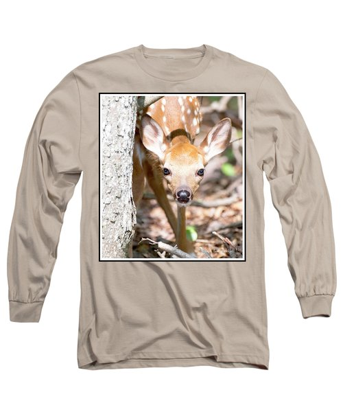 White-tailed Deer Fawn, Animal Portrait Long Sleeve T-Shirt