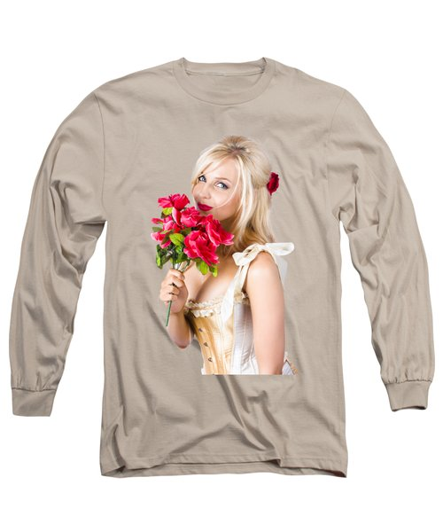 Adorable Florist Woman Smelling Red Flowers Long Sleeve T-Shirt