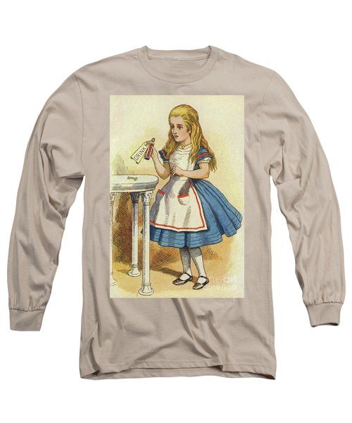Alice Discovers A Bottle Marked Drink Me Long Sleeve T-Shirt