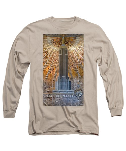 Aluminum Relief Inside The Empire State Building - New York Long Sleeve T-Shirt