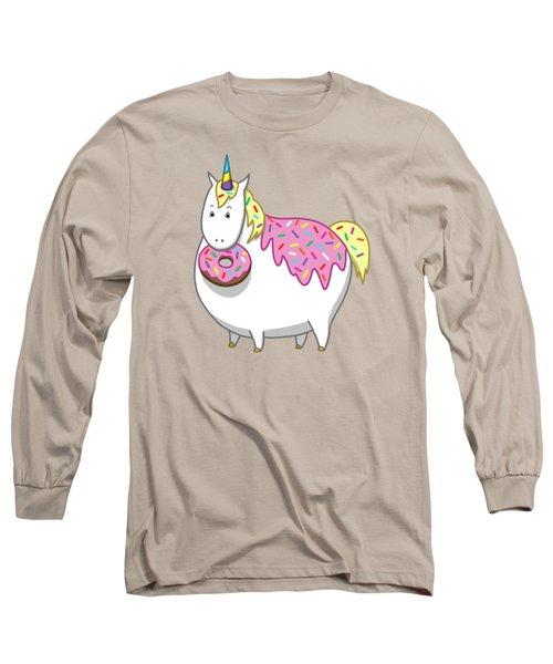 Chubby Unicorn Eating Sprinkle Doughnut Long Sleeve T-Shirt