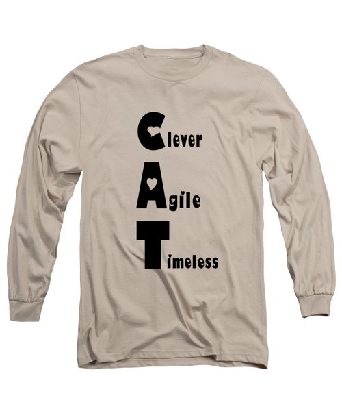 Cat With Black Words Long Sleeve T-Shirt