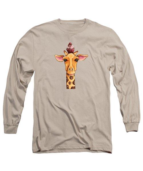 Giraffe With Cherry On Top Long Sleeve T-Shirt