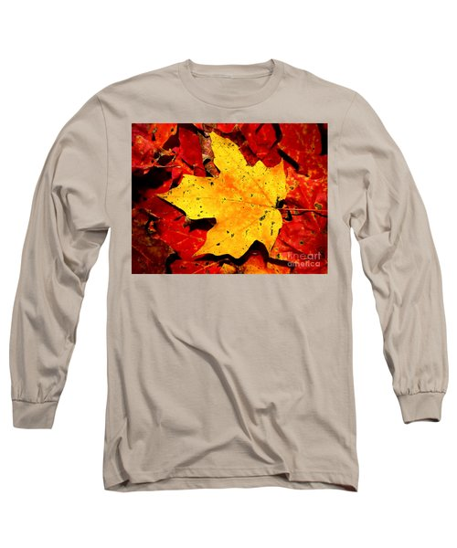 Autumn Beige Yellow Leaf On Red Leaves Long Sleeve T-Shirt