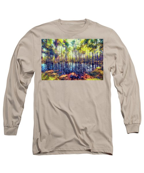 Autumn Fall Colors In The Cypress Swamp Ap Long Sleeve T-Shirt
