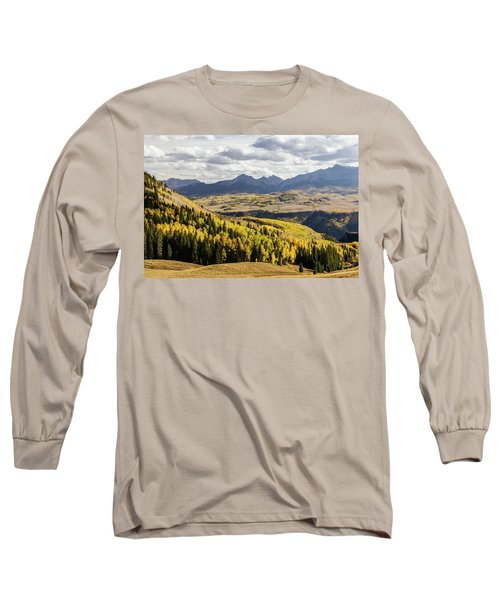 Long Sleeve T-Shirt featuring the photograph Autumn Season View Of Sneffles Ten Peak by James BO Insogna