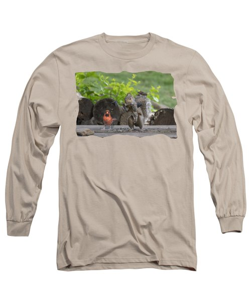 Backyard Squirrel Working Out With Trainer Long Sleeve T-Shirt