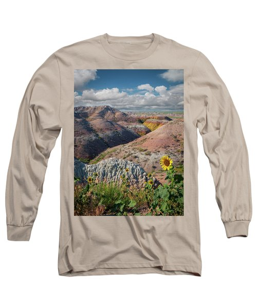 Badlands Sunflower - Vertical Long Sleeve T-Shirt