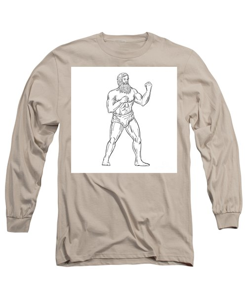 Bearded Boxer Fighting Stance Drawing Black And White Long Sleeve T-Shirt