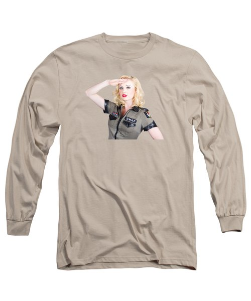 Beautiful Blond Woman In Military Outfit Long Sleeve T-Shirt