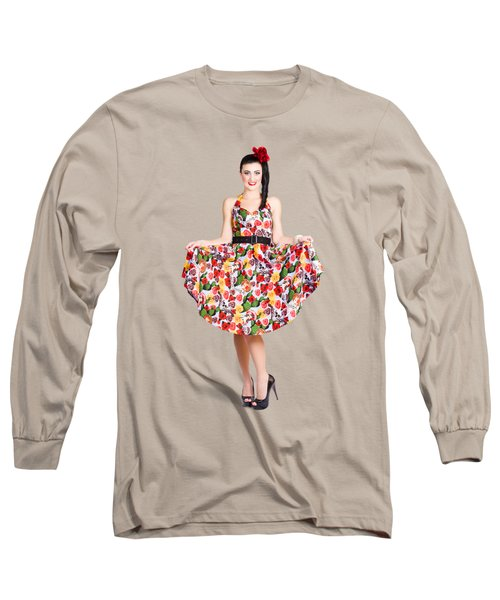 Beautiful Dancing Woman In Retro Red Dress Long Sleeve T-Shirt
