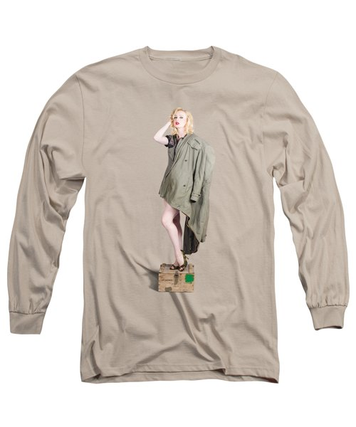 Beautiful Military Pinup Girl. Classic Beauty Long Sleeve T-Shirt