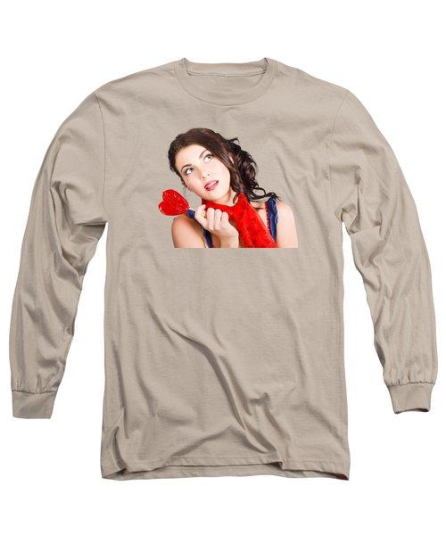 Beautiful Pinup Girl Holding Candy. Sweet Heart Long Sleeve T-Shirt