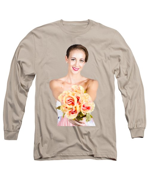 Beautiful Woman Holding Florist Flowers Long Sleeve T-Shirt