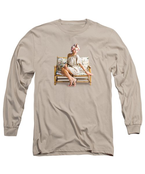 Beautiful Woman On Couch Long Sleeve T-Shirt