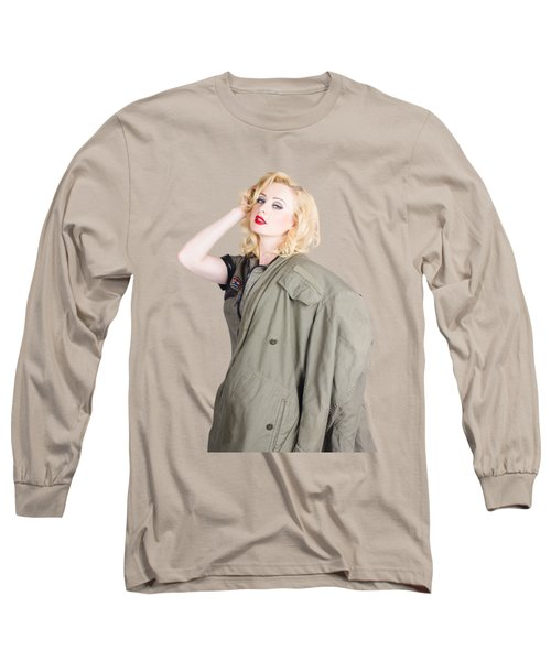 Beautiful Young 1940s Retro Style War Pinup Long Sleeve T-Shirt