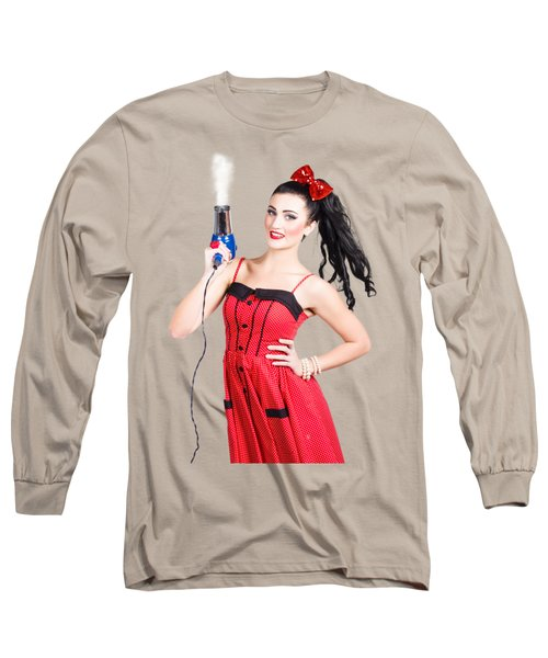 Beauty Style Portrait Of A Elegant Hairdryer Woman Long Sleeve T-Shirt