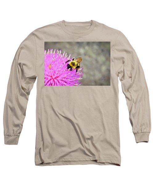 Bee On Pink Bull Thistle Long Sleeve T-Shirt