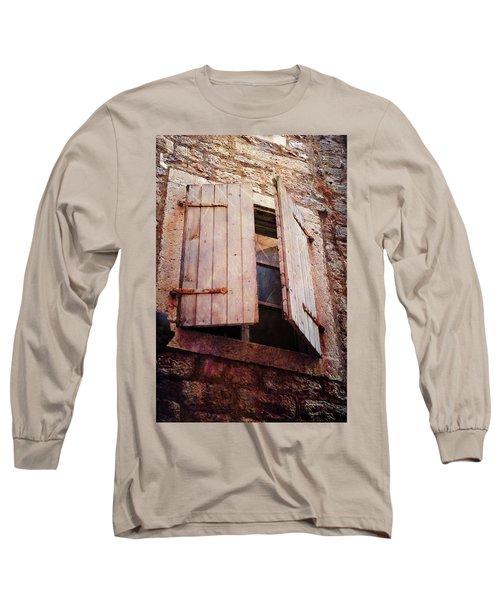 Long Sleeve T-Shirt featuring the photograph Behind Shutters by Randi Grace Nilsberg