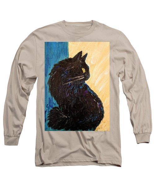 Black Cat In Sunlight Long Sleeve T-Shirt