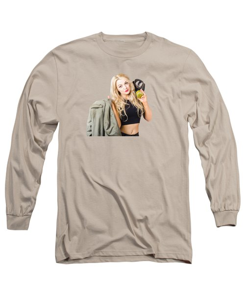 Blond Pin Up Woman Holding Gasmask. Nuclear Pinups Long Sleeve T-Shirt