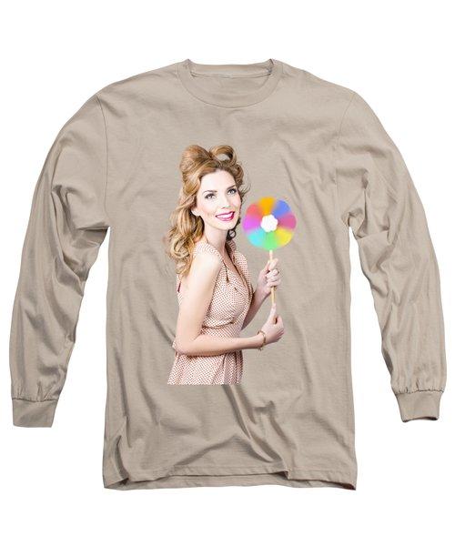 Blonde Girl Holding Windmill Fan. Natural Energy Long Sleeve T-Shirt