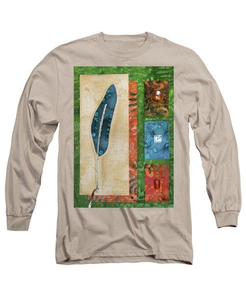 Blue Feather Long Sleeve T-Shirt