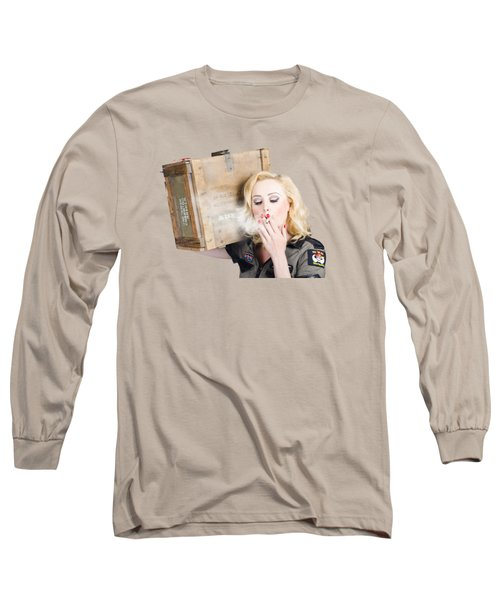Brave Army Girl Holding Explosive Small Arms Long Sleeve T-Shirt