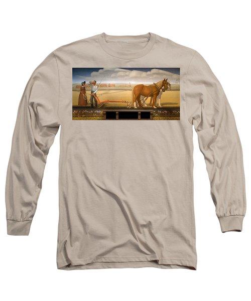 Breaking The Prairie Sod  By Grant Wood Long Sleeve T-Shirt