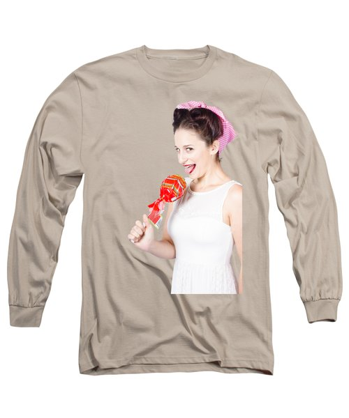 Brunette Pin Up Woman Licking Wrapped Lollipop Long Sleeve T-Shirt