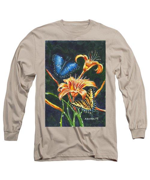 Butterflies And Flowers Sketch Long Sleeve T-Shirt