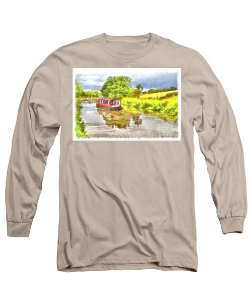 Canal Boat On The Leeds To Liverpool Canal Long Sleeve T-Shirt