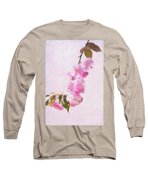 Cascading Kwanzan Cherry Blossoms Long Sleeve T-Shirt