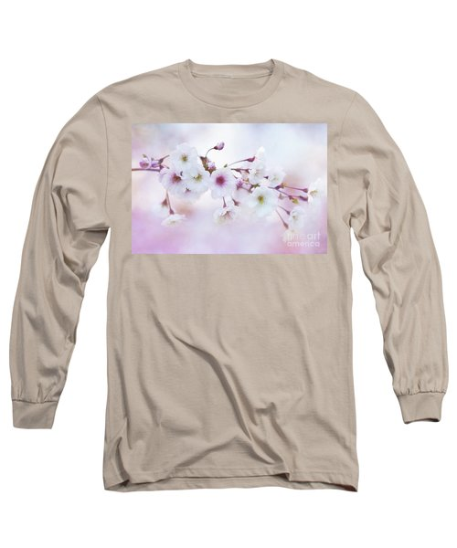 Cherry Blossoms In Pastel Pink Long Sleeve T-Shirt
